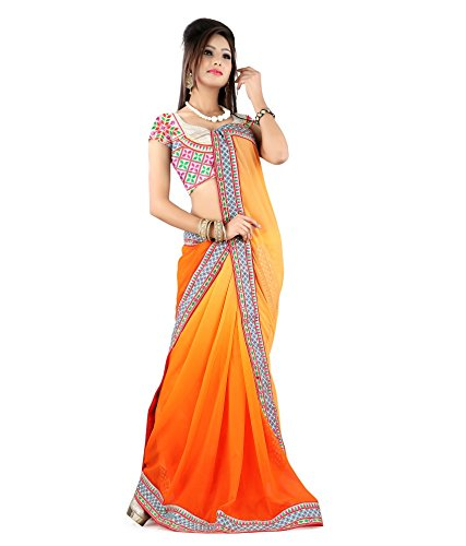 Yuvati Sarees Border Work Saree (9216_Orange)