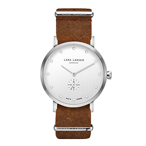 Lars Larsen 132SWCZ - Orologio da uomo al quarzo, con quadrante analogico bianco e cinturino in cuoio marrone