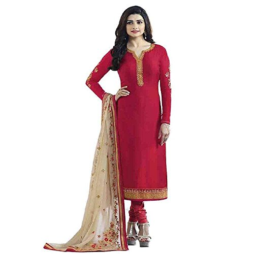 TF Prachi Desai Crepe Silk Salwar Suit(Red,Free Size,Vinay_5466)