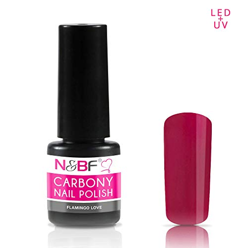 N&BF Carbony UV + LED Nagellack Flamingo Love (Pink) | 5ml Gel Nail Polish dünnviskos | 3-in-1...
