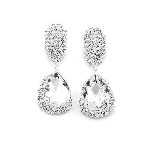 ODJOY-FAN 1 Paar Damen Kristall Ohrring Mode Juwel Wasser Fallen Ohrring Wasser Bohren Glas Ohrstecker Beliebt Strass Glas Ohrstecker(Weiß,1 Pair) (Opal Auf Clip Ohrringe)