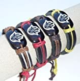 Hamsa Friendship Leather Bracelet Hand Of Fatima Judaica Evil Eye Shamballa Red