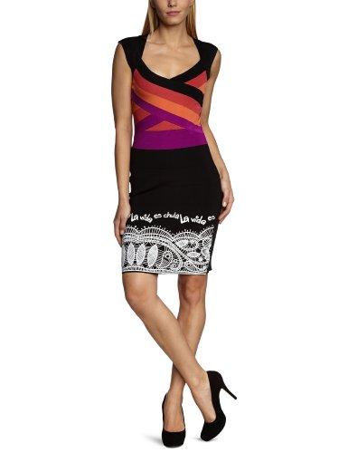 Desigual Damen Kleid (knielang) 30V2079 Schwarz (carmin 3000)