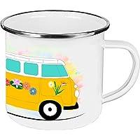 Cadouri - CAMPING-Tasse mit Spruch REISEN IST DIE SEHNSUCHT NACH DEM LEBEN Kaffeetasse Kaffeebecher Trinkbecher Emaille-Tasse Campingbecher - 300 ml