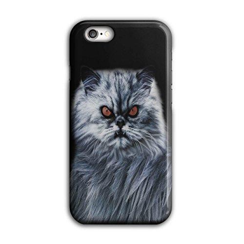Wellcoda Wütend Katze Böse Auge Tier Hülle für iPhone 6 / 6S Kätzchen Rutschfeste Hülle - Slim Fit, komfortabler Griff, Schutzhülle