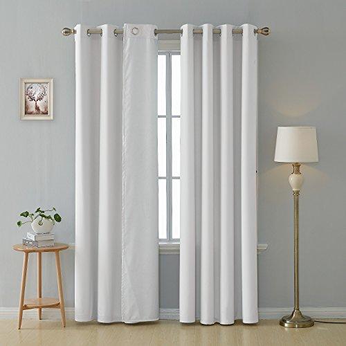 Deconovo Tende Termiche Isolanti con Occhielli Tende Moderne Decorative per Tua Casa 100% Poliestere Bianco Grigiastro 135x240 CM 2 Pannelli