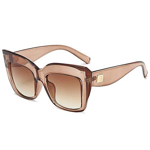 European and American Personality Big Box cat Eye Sunglasses Fashion Trend Classic Hundred-Set Sunglasses Men and Women universal Retro Glasses C5 Tea Box Gradient Grey -