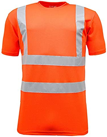 Hi Vis Short Sleeve Safety Work Crew Neck T Shirt High Visibility Security Safety Work Reflective Tape