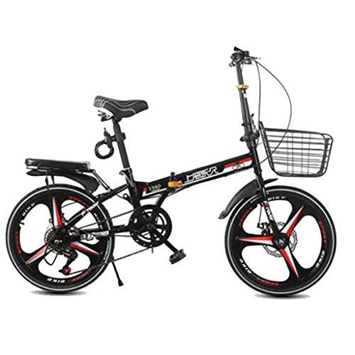 Yunyisujiao Fahrrad Klapprad Erwachsene Männer Und Frauen 20 Zoll Klapprad Geschwindigkeit Fahrrad Licht Tragbare Rad (Color : Black, Size : 115 * 30 * 95CM)