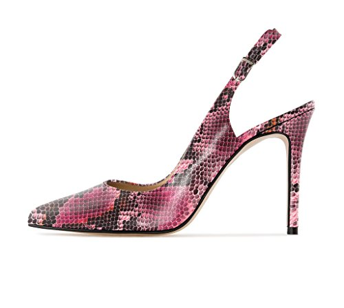 EDEFS Damen Slingback Pumps,High Heel Übergröße Damenschuhe,Schuhe mit Hohen Absätzen Python-Red