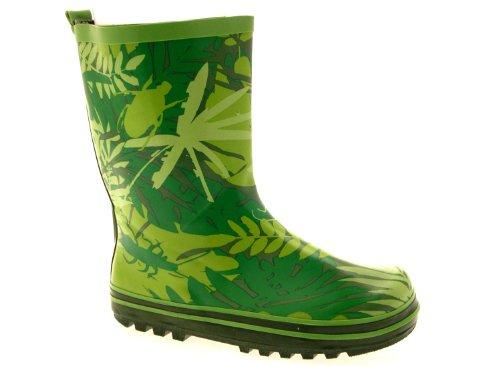 Lora Dora ,  Unisex - Kinder Gummistiefel Green Leaf Print