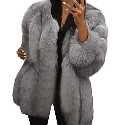 iHENGH Damen Herbst Winter Bequem Mantel Lässig Mode Jacke Frauen Neue Damenmode Winter Warm Fuax Fur Long Sleeve Sexy Mantel Plus Outwear(Hellgrau, L)