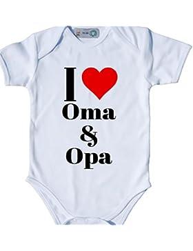Baby Body Bio Bodysuit Shortsleeve I Love (Herz) Oma & Opa Strampler