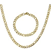 Figaro Chain Link Stainless Steel Gold Silver Color Bracelet Necklace Sets Men Gift Fashion Jewelry Sets