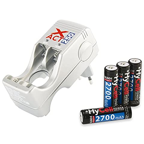 HYCELL 5107333 Chargeur Xpert 250 pour accus AA ou AAA NiMh/NiCd livré avec 4 AA NiMh 2700mAh