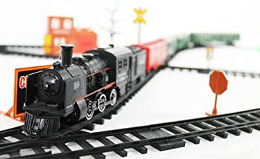west feen Kids Battery Operated Train Track Simulating a True Style Set 19 Piece , Multi Color
