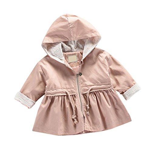 Baby Fleecejacke Hirolan Kinderkleidung Säugling Kleinkind Winter Kleider Mantel Mädchen Bomberjacke Jungen Reißverschluss Warm Outwear Beiläufig Steppjacke (70cm, Rosa)