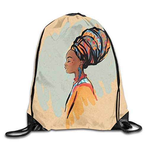 New Shorts Watercolor Profile Portrait of Native Woman with Ethnic Hairdo and Earrings Theme Drawstring Backpack Rucksack Shoulder Bags Sport Gym Bag for Men and Women (Bleach-profile)