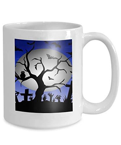 Kaffee Tee Tasse Tasse Happy Halloween Baum Fledermäuse Eule Grabstein Dekoration Vollmond Little 110z (Für Grabsteine Verkauf)