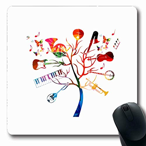 Luancrop Mousepad Oblong Graphic Band Musikinstrumente Tree Guitar String Orchestra Banjo Bouzouki Messing Cello Klassisches Design Bürocomputer Laptop Notebook Mauspad, rutschfestes Gummi
