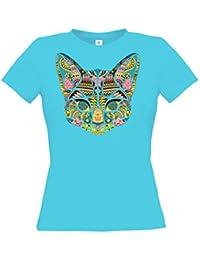Ethno Designs Streetwear - Mosaic Cat - Chat T-Shirt pour Femmes - Loisirs et Fête Shirt - slim fit