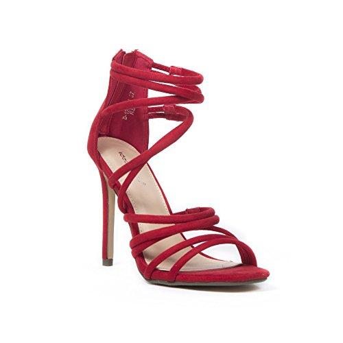 Ideal Shoes Sandales à Talon Effet Daim et multibrides Felicity Rouge