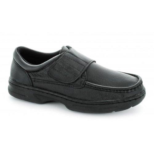Dr Keller Texas Herren Schuhe Leder Klettverschluss, breite Passform Schwarz, schwarz - schwarz - Größe: 40 2/3