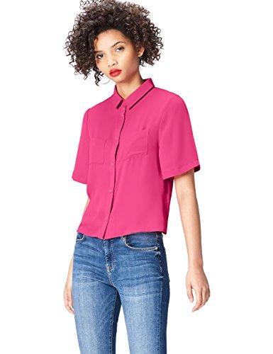 FIND Hemd Damen mit kurzen Ärmeln, Brusttaschen und kastenförmiger Silhouette, Rosa (Cabaret 18-2140), 44 (Herstellergröße: XX-Large)