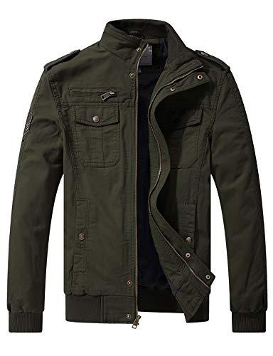 Wenven Herren Casual Militär Baumwolle Leichte Windbreaker Jacke (DE 48-50 (Label Small), Armee...