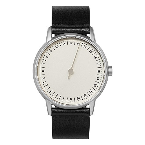 slow round 01 - Black Leather, Silver Case, Silver Dial