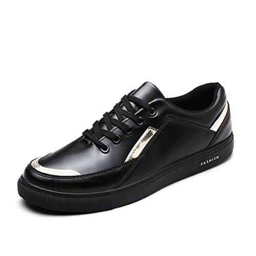 HUAN Herrenschuhe Herren Freizeitschuhe Deck Bootsschuhe Low-Top Sneakers Schnürschuhe (Color : Black, Size : 40)