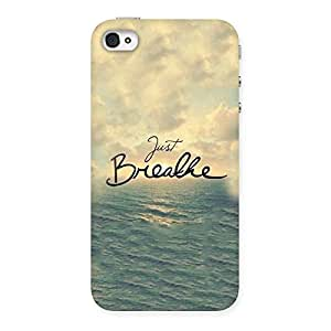 Cute Just Breath Multicolor Back Case Cover for iPhone 4 4s