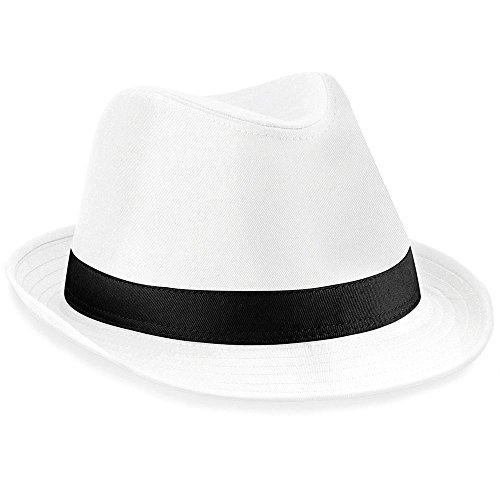 Ideen Hip 80's Kostüme Hop (Hut Hochzeit Kopfbedeckung Damen Fedora Hüte klassisch schwarz weiß)