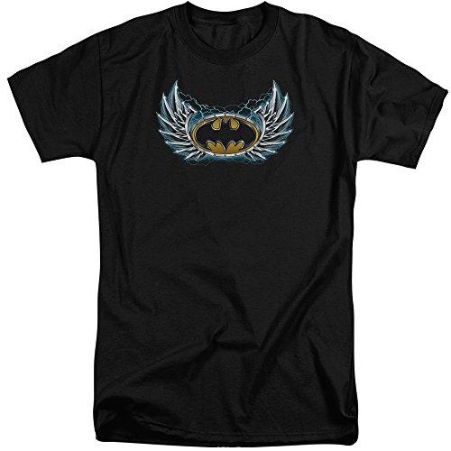 Batman Männer Stahl Flügel Logo Tall T-Shirt, XXX-Large, Black -