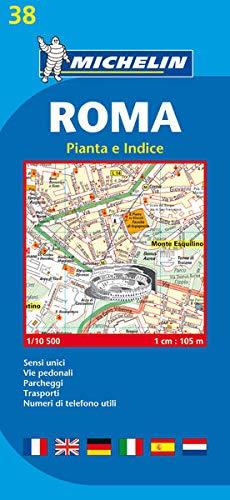 Roma 1:10.500. Sensi unici, vie pedonali, parcheggi, trasporti, numeri di telefono utili