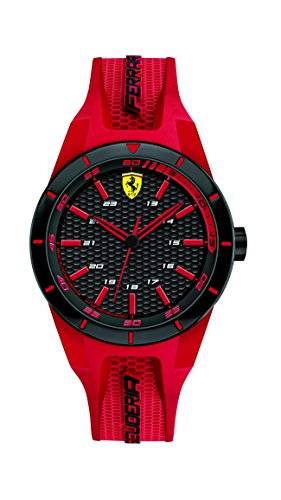 Ferrari 0840005 RedRev - Reloj analógico de pulsera para hombre (cuarzo, correa de silicona)