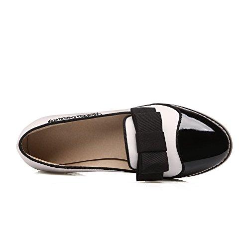 VogueZone009 Femme Verni Tire Fermeture D'Orteil Rond à Talon Bas Couleurs Mélangées Chaussures Légeres Blanc