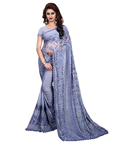 Being Banarasi Chiffon Saree With Blouse Piece (1258_C_Blue_Free Size)