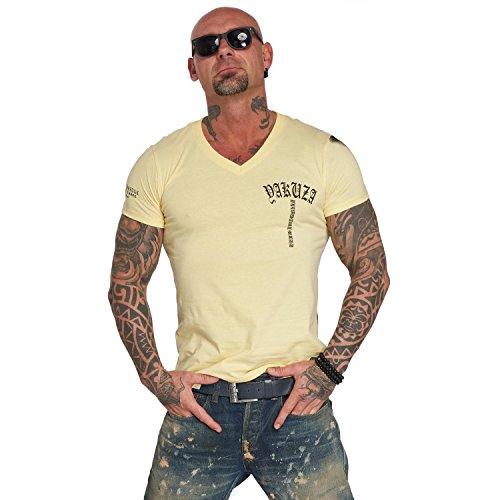 Yakuza Original Herren Skull V02 V-Neck T-Shirt, Gr.-3XL,Pale Banana -