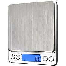 ROTIHYDA Báscula 1000 g x 0.1 g Escalas de cocina de metal Mini balanzas digitales electrónicas Estuche