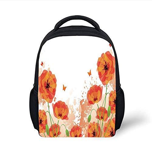 Kids School Backpack Poppy,Digital Watercolors Design Poppy Authentic Classic Botany Bouquet Patterns Print,Red White Plain Bookbag Travel Daypack Digital Backpack Kit