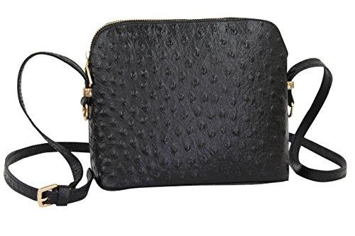 AMBRA Moda Damen Handtasche Umhängetasche Leder Tasche klein SL702 (Schwarz) (Straußenleder Schwarz,)