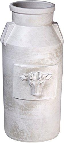 Große Milchkanne 60 cm hoch I XXL Bodenvase weiß mit Verzierung I Viele dekorative Möglichkeiten I Schirmständer, Regenschirmständer, Schöne Frühlingsdeko I Keramik Vintage I Deko Dekoration