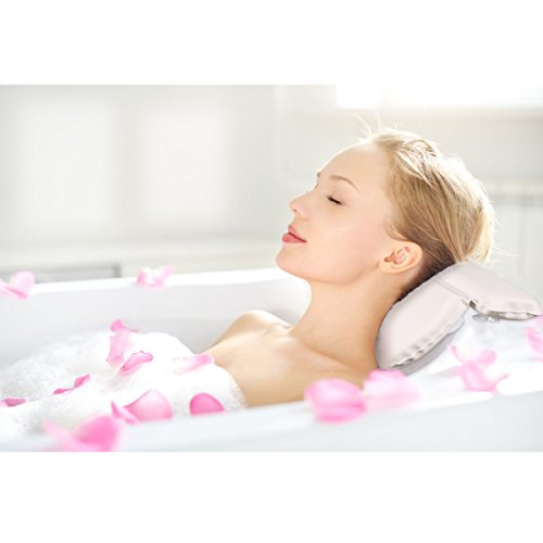 Gepolsterte Kissen (ezeso Spa Bad Kissen Gepolsterte rutschfeste Komfort Unterstützung Pad Kissen für Badewanne Spa für Kopf & Nacken, Rücken und Schultern mit 7Saugnäpfe weiß)