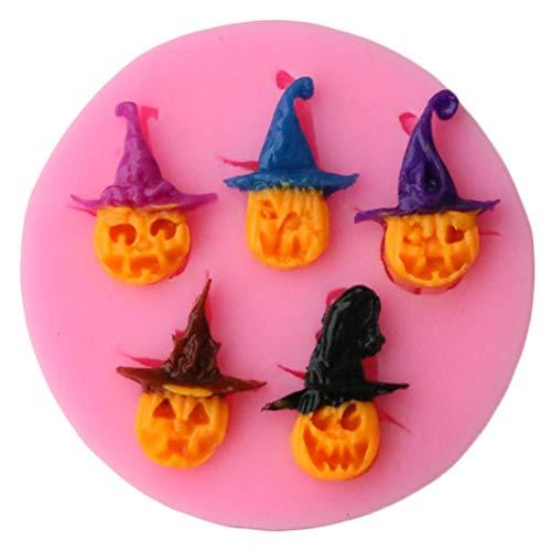 Sevenfly Halloween Silikon Backformen Scary Pirate Kürbis Backformen Süßigkeiten Schokolade Cupcake Cookie Eiswürfel Formen (Pink)
