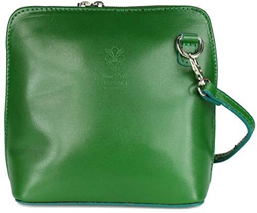Belli italienische Ledertasche Damen Umhängetasche klein Handtasche Schultertasche Abendtasche grün - 17x16,5x8,5 cm (B x H x T)