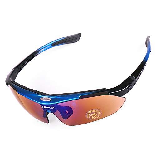 Mhwlai Radsportbrille, Herren und Damen polarisierte Sportbrille abnehmbare Brille 5 Paar Linsen geeignet für Outdoor-Reiten Angeln Golf,B
