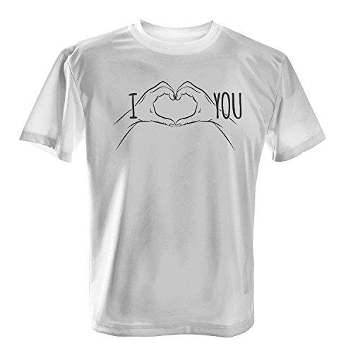 Fashionalarm Herren T-Shirt - I Love You - Herz Hände | Fun Shirt mit Spruch als Valentinstag & Jahrestag Geschenk Idee für verliebte Paare Weiß