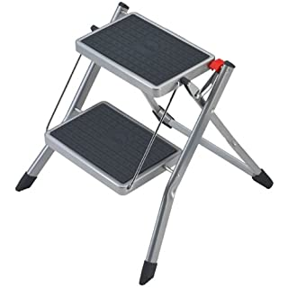 Hailo 4310-151 Mini small and compact folding steps , 2 large steps with non-slip mats,  150 kg Capacity