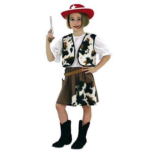 Old Hut West Kostüm - KarnevalsTeufel Cowgirl-Set 4-tlg mit Spielzeug-Revolver, Gürtel, Cowgirl-Hut und Kostüm (116)